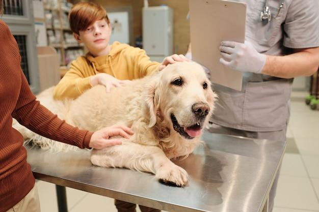 Ragazzino insieme alla mamma che calma il cane sul tavolo durante la visita medica presso la clinica veterinaria
