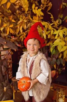 Ragazzino che indossa il costume da gnomo per halloween