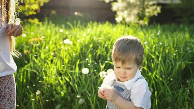 Piccolo fratello e sorella in abiti estivi luminosi. divertente e divertente giocare con soffici denti di leone bianchi e gialli sullo sfondo di erba alta e alberi lussureggianti nel giardino primaverile.
