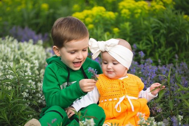 Il fratellino e il vento sono seduti nel parco sull'erba tra i fiori.