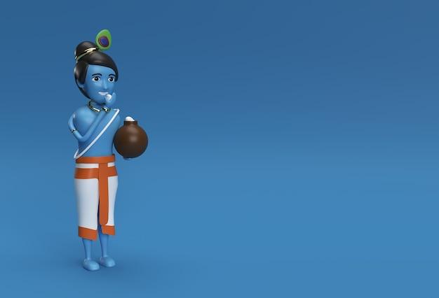 Piccolo cartone animato krishna con una pentola di burro. illustrazione di rendering 3d.