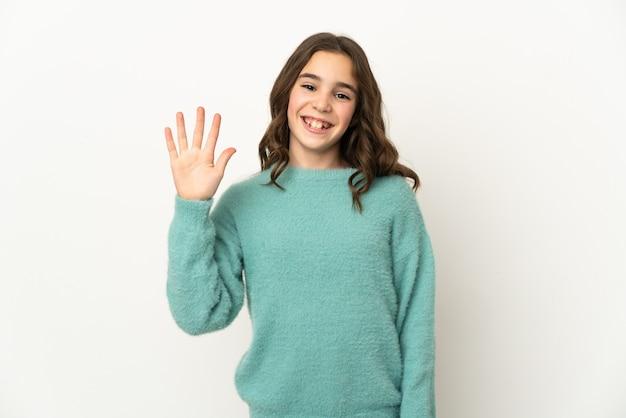 Piccola ragazza caucasica isolata su priorità bassa bianca che saluta con la mano con l'espressione felice