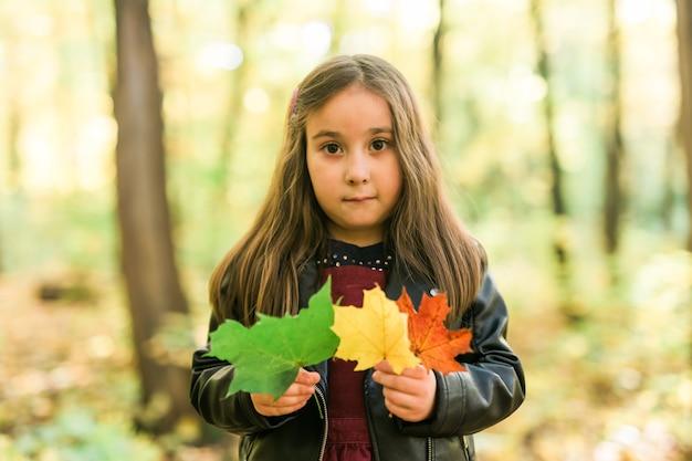 La bambina tiene in mano un mazzo di foglie autunnali nella stagione autunnale