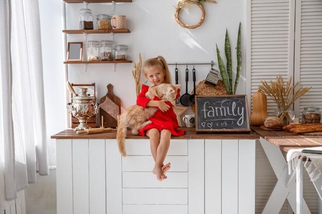 Una bambina gioca con un gattino nella cucina della casa. il concetto di famiglia umana e animale domestico