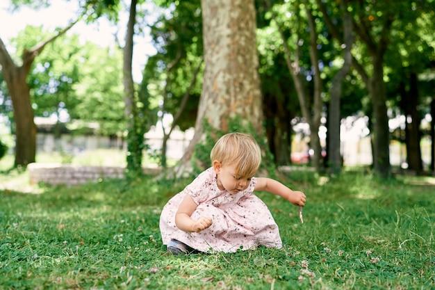 La bambina si siede sull'erba verde vicino al tronco di albero piano intrecciato con l'edera