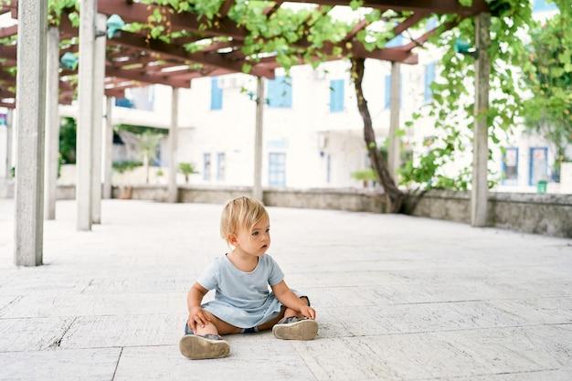 Bambina seduta su una piastrella in un patio intrecciata con l'uva
