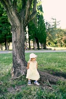 La bambina sta appoggiata alle radici di un enorme albero nel parco