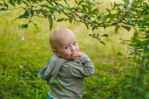La bambina si voltò con la mano alla bocca. figlio del bambino in giacca con cappuccio grigio si trova sotto il ramo con foglie verdi.