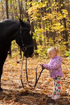 Bambina con un cavallo a passeggio nel bosco autunnale