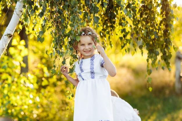 Bambina con la preghiera. pace, speranza, concetto di sogni. ritratto di una bella bambina nella natura