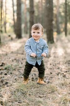 Piccolo ragazzo bambino felice che indossa camicia a scacchi alla moda, pantaloni e scarpe, si trova nel parco o nella pineta in autunno