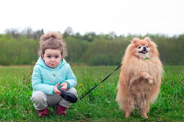 Il bambino, ragazza del bambino che cammina insieme al cane sorridente felice, cucciolo divertente sveglio dello spitz di pomeranian sul guinzaglio sta sulle zampe posteriori su erba verde. persone, bambini, amici, amicizia, concetto di animali.