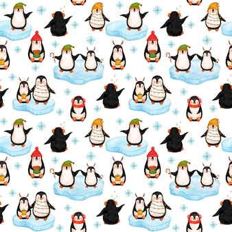 Carta digitale little penguins, reticolo senza giunte dei pinguini di natale.