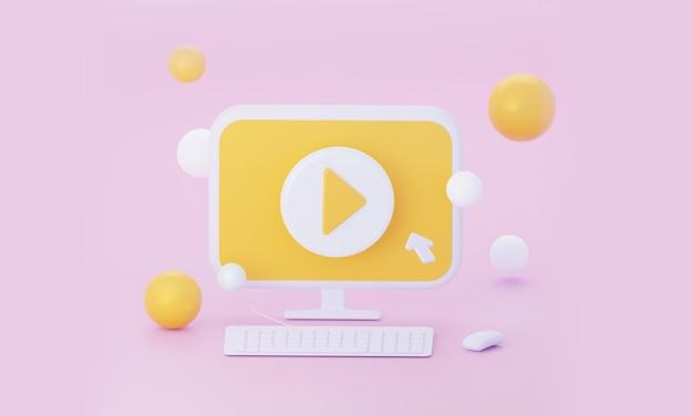 Streaming video in diretta sul computer. rendering 3d