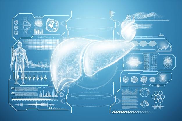 Ologramma del fegato, dolore al fegato, dati medici e indicatori. concetto di tecnologia, trattamento dell'epatite, donazione, diagnostica online. rendering 3d, illustrazione 3d.