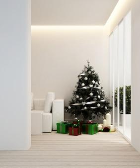 Zona giorno e albero di natale in appartamento o casa - interior design - rendering 3d