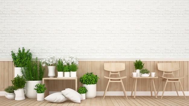 Zona giorno in caffetteria o ristorante - rendering 3d
