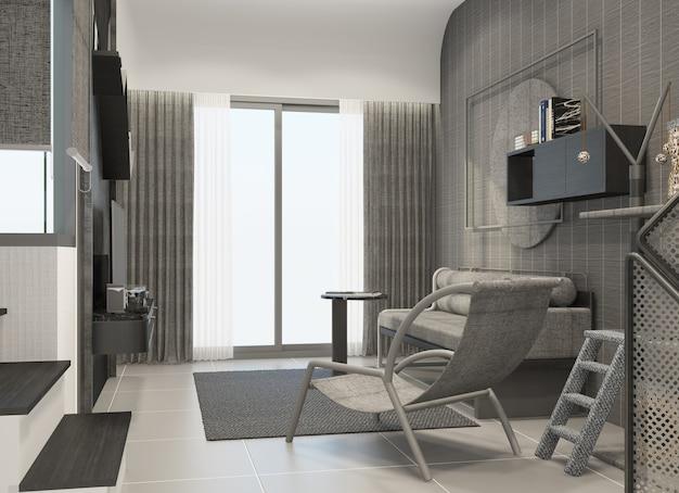 Soggiorno in casa a schiera interni moderni in stile naturale rendering 3d