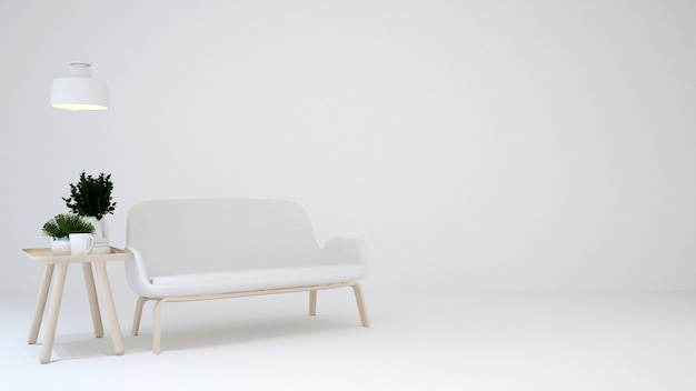 Zona giorno su tono bianco e blackground bianco - rendering 3d
