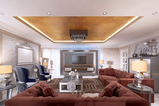 Soggiorno in stile art déco con mobili imbottiti di design. con soffitto dorato e pareti in stucco veneziano. rendering 3d.
