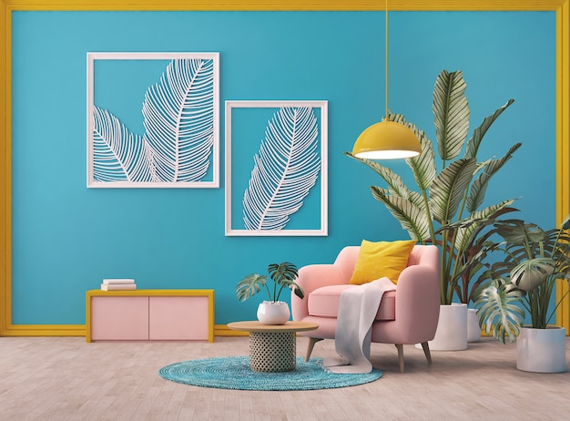 Design del soggiorno con bluepink e colore giallo pianta su tela di sfondo e foglia