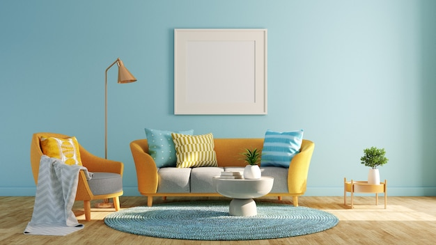 Soggiorno design con blu pastello e giallo