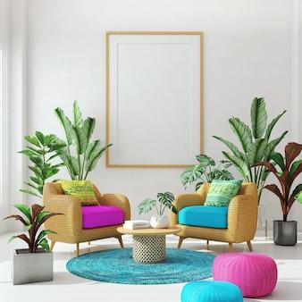 Soggiorno designrattan divano e poltrona con pianta sullo sfondo