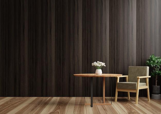 Il soggiorno ha bellissime pareti in legno scuro con un tavolo e una sedia. rendering 3d.