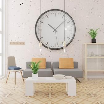 Fondo interno del salone, stile scandinavo.