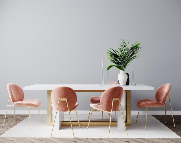 Scena di interior design del soggiorno con sedia rosa, tavolo e muro grigio vuoto, interno della stanza mock up, sfondo interno della stanza vuota