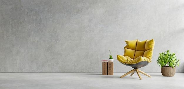 Interno del soggiorno in appartamento loft con poltrona gialla, muro di cemento. rendering 3d