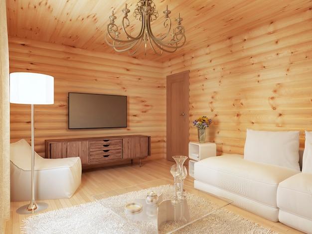 Interno del soggiorno in una casa di tronchi con la console e la tv e tessuti morbidi con una poltrona