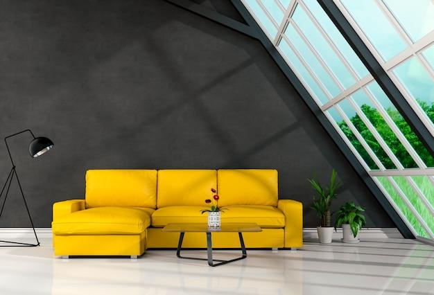 L'interno del salone nello stile moderno, 3d rende