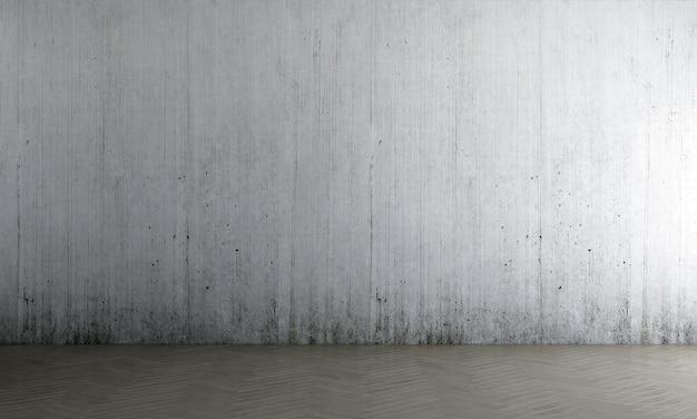 La parete interna del soggiorno si simula in caldi neutri con sullo sfondo del muro di cemento vuoto