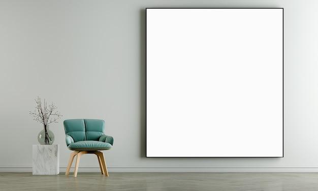 Parete interna del soggiorno simulata in caldi neutri con un divano verde, una decorazione moderna in stile accogliente e una cornice in tela sullo sfondo del muro bianco