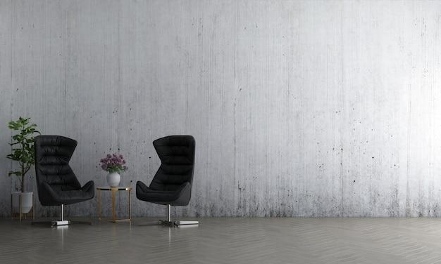 La parete interna del soggiorno si simula in caldi neutri con un divano verde, una decorazione moderna in stile accogliente e uno sfondo di muro di cemento