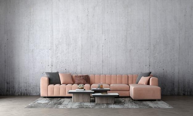 Parete interna del soggiorno mock up in caldi neutri con divano rosa moderna decorazione in stile accogliente su sfondo di muro di cemento vuoto empty