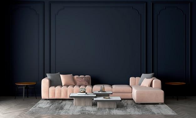 Parete interna del soggiorno simulata in caldi neutri con un divano rosa moderno e accogliente decorazione in stile su sfondo scuro vuoto