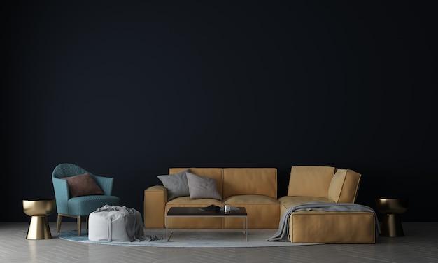 Parete interna del soggiorno simulata in caldi neutri con un divano moderno in stile accogliente e una cornice in tela sullo sfondo del muro bianco white
