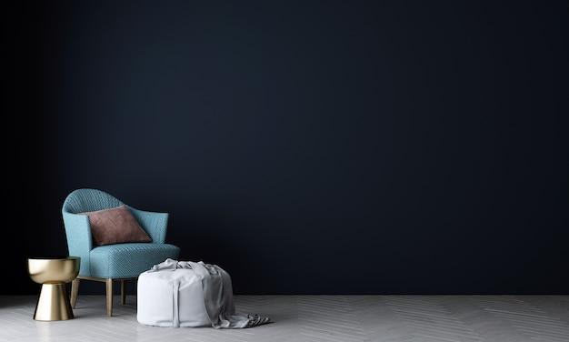 Parete interna del soggiorno mock up in caldi neutri con divano moderno e accogliente decorazione in stile su sfondo blu vuoto della parete
