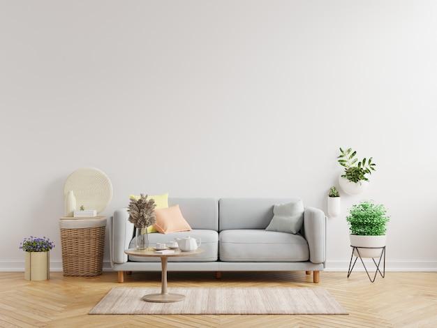Il modello della parete interna del soggiorno ha divano e decorazione, rendering 3d