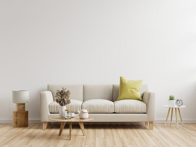 Mockup di parete interna soggiorno con divano con arredamento su sfondo bianco.3d rendering