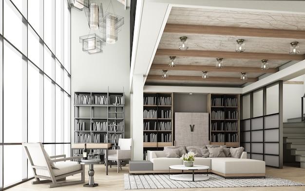 Il soggiorno è decorato in stile moderno con tonalità del legno e dispone di un set di divani e di una libreria, di ampie finestre e di soffitti alti con pavimenti in parquet. rendering 3d