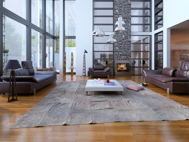 Lo stile loft del soggiorno e le finestre a due piani e le pareti bianche sono perfettamente combinate.