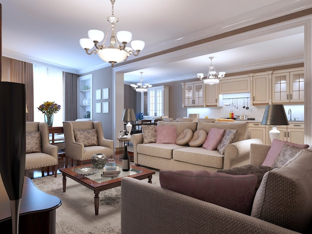 Soggiorno in stile mediterraneo con morbidi divani e poltrone con tavolino in legno al centro e tonalità beige ovunque.
