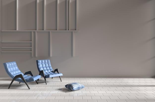 Soggiorno in giorno di relax. decor con due poltrone blu, cuscino bianco-blu, pavimento di piastrelle. 3d