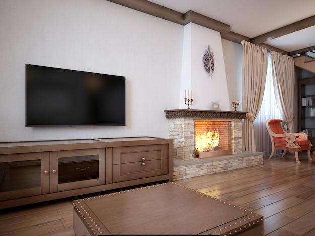 Soggiorno in stile rustico con mobili imbottiti e un grande camino con elementi classici. rappresentazione 3d.