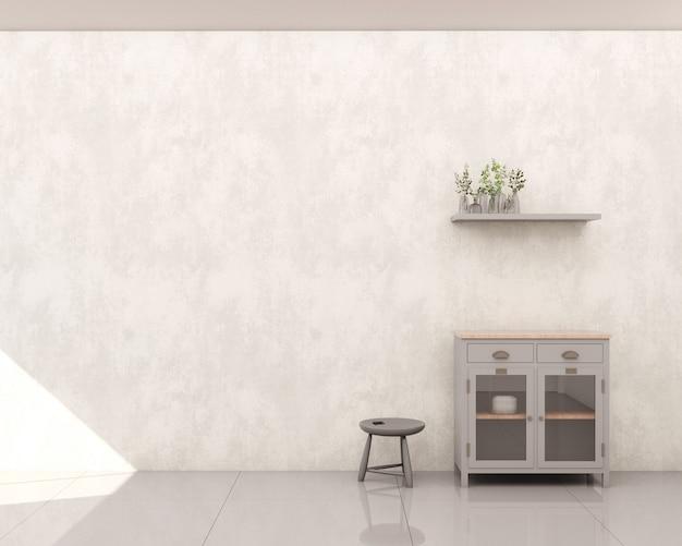 Mobile soggiorno con parete in cemento bruciato grigio per riporre utensili con anta in vetro ripiano laterale sgabello decori e piante