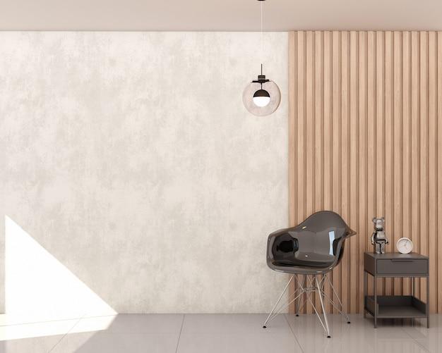 Soggiorno con parete in cemento bruciato e pannello a doghe in legno sedia nera comodino nero con decori e sospensione tonda