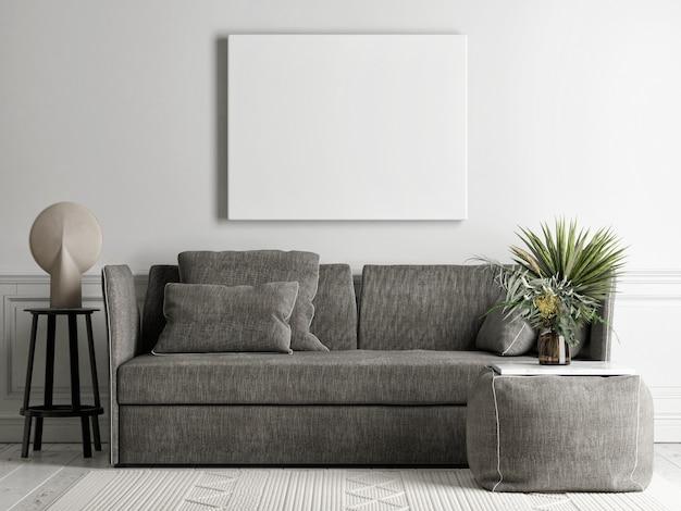 Soggiorno con poster mockup sulla parete di fondo, comodo divano grigio, una poltrona in stile scandinavo, rendering 3d, illustrazione 3d